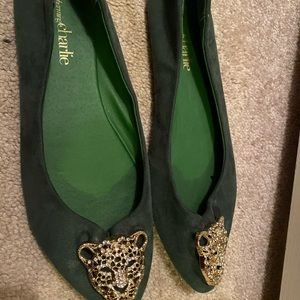 Dark green Charming charming embellished flats